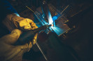 Electric Metal Welding Closeup Photo. Welding Works.